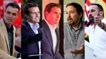 Sánchez, Casado Rivera, Iglesias y Abascal