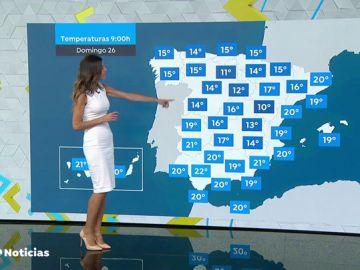 Cielo despejado en casi toda España, salvo el extremo norte peninsular y Baleares, con nubes, lluvias y tormentas