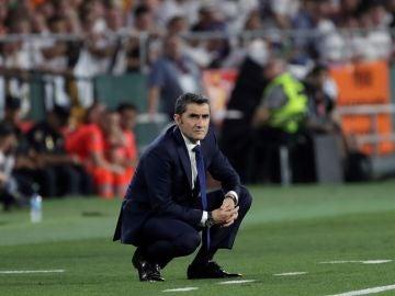 Ernesto Valverde, en la banda del Villamarín
