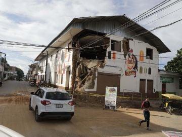 Una vivienda afectada por el terremoto en Perú