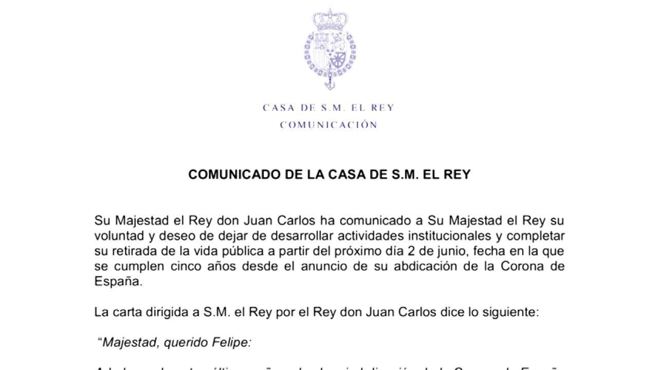 La Carta Del Rey Juan Carlos A Su Hijo Para Anunciar Que