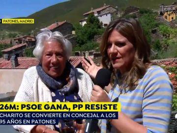 """Charito, concejala de Patones a los 95 años: """"Llamaré a las puertas que haga falta para hacer el párking"""""""