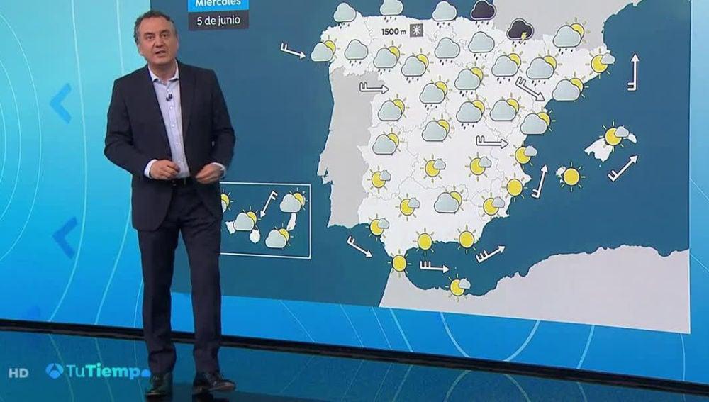 Las temperaturas se desploman, con lluvia en el norte peninsular