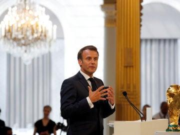 Emmanuel Macron, durante un discurso