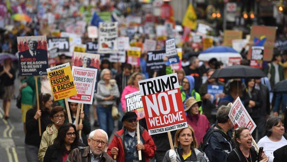 Protestas contra la visita de Trump a Reino Unido