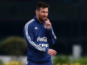 Leo Messi, durante un entrenamiento con Argentina