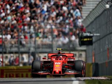 Leclerc rueda por el circuito de Canadá