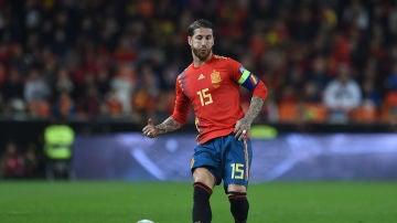 Sergio Ramos, en un partido con la selección española