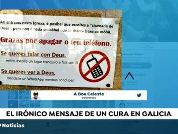 """Polémico cartel de un párroco en la puerta de la Iglesia de Pontevedra: """"Si quieres ver a Dios mándale un Whatsapp mientras conduces"""""""