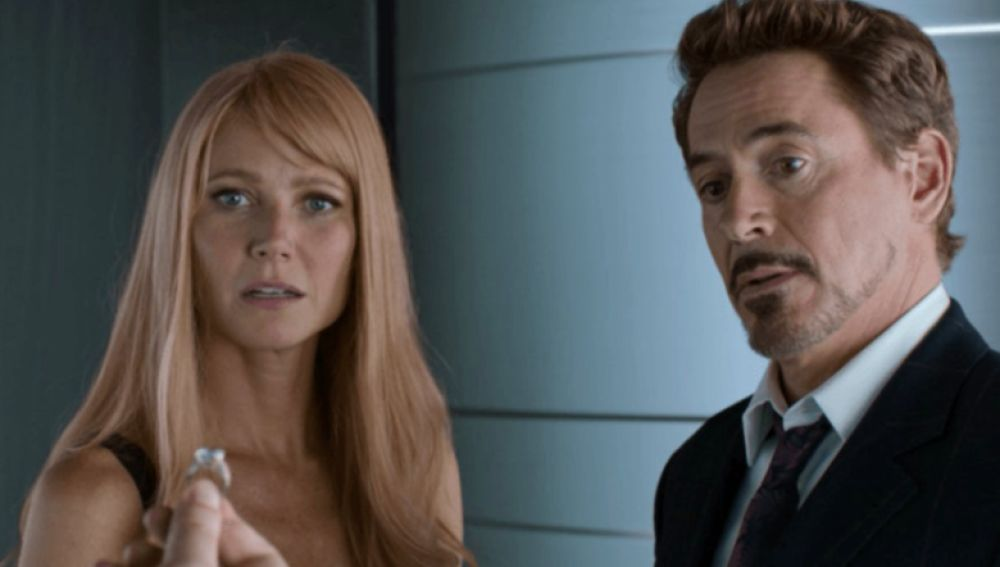 Gwyneth Paltrow y Robert Downey Jr. en 'Iron Man'
