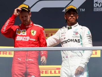 Vettel y Hamilton, en el podio del GP de Canadá