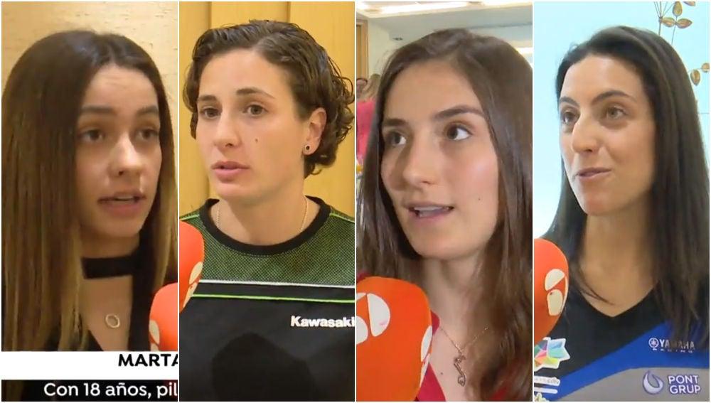 Marta García, Ana Carrasco, Tatiana Calderón y Sara Garcia atienden a Antena 3 Deportes