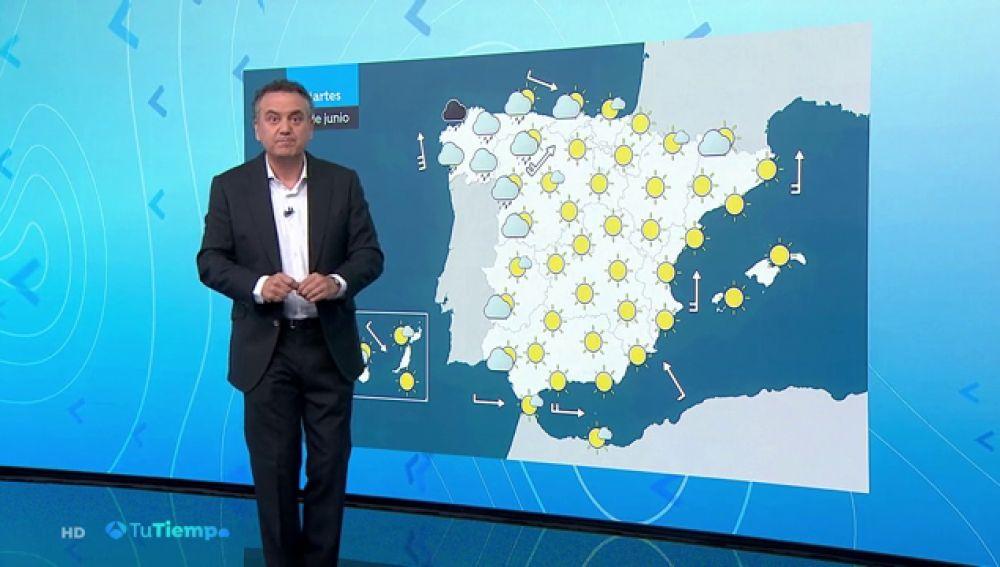 Se mantiene el calor en toda la península, con nubes y lluvias en Galicia