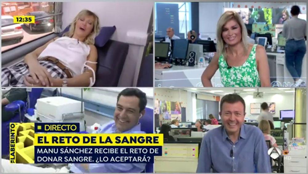 Manu Sánchez acepta el reto de Susanna Griso de donar sangre