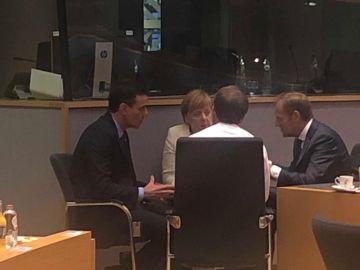 Sánchez, Merkel, Macron y Tusk