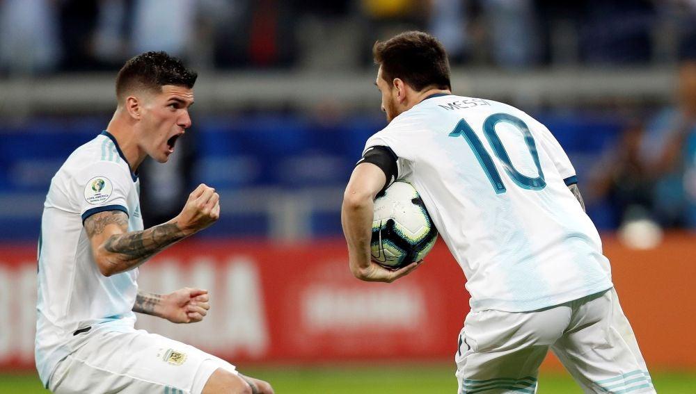 Leo Messi, tras anotar su gol ante Paraguay