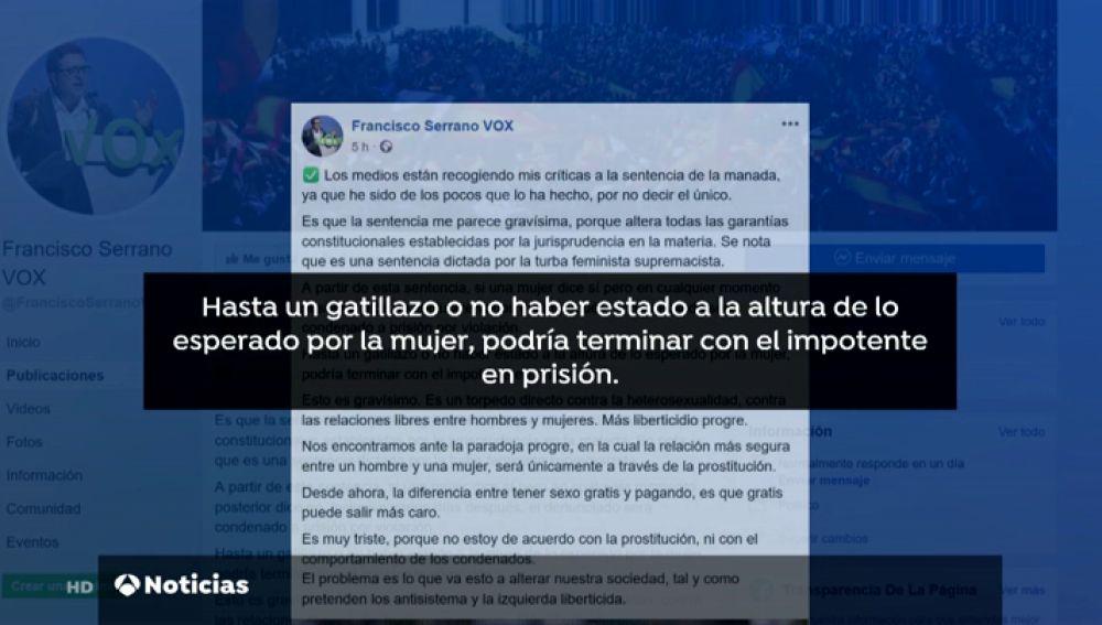 """Francisco Serrano, de Vox, vuelve a cargar contra la sentencia de 'La Manada': """"Hasta un gatillazo podría terminar con el impotente en prisión"""""""