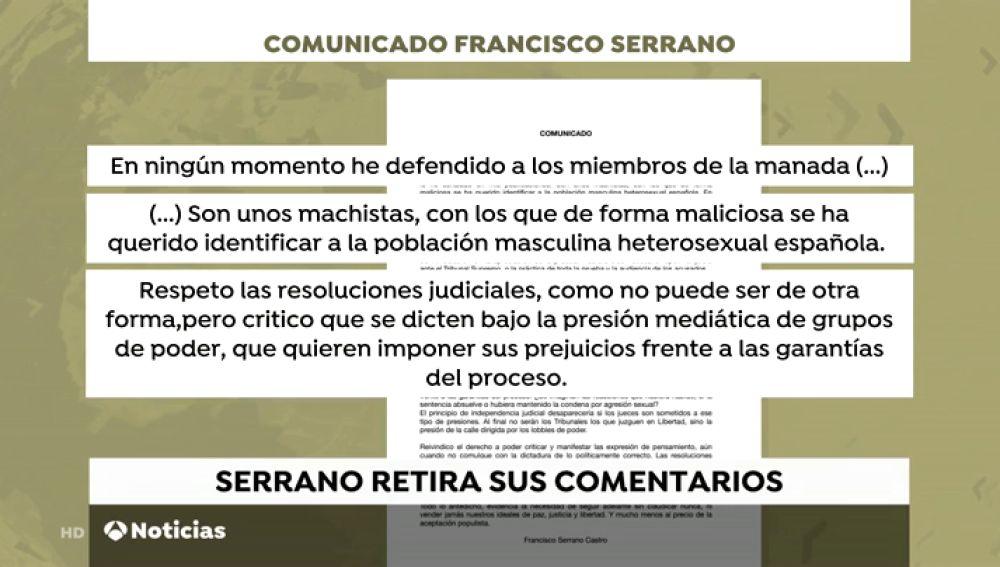 Serrano borra sus palabras sobre la sentencia contra 'La Manada' y emite un comunicado para matiza su mensaje
