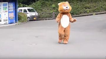 Un empleado disfrazado de león