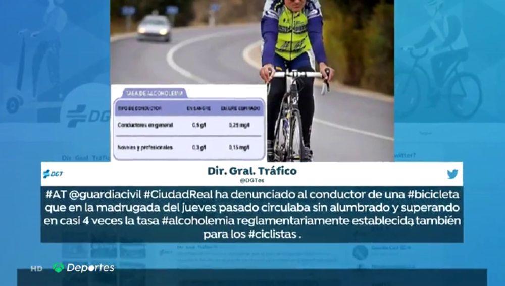 La DGT denuncia en un plazo de 48 horas a dos ciclistas que circulaban borrachos por La Mancha y Galicia
