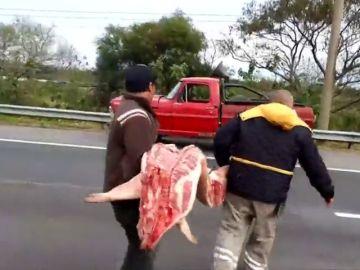 Saquean un camión con carne de cerdo en Argentina