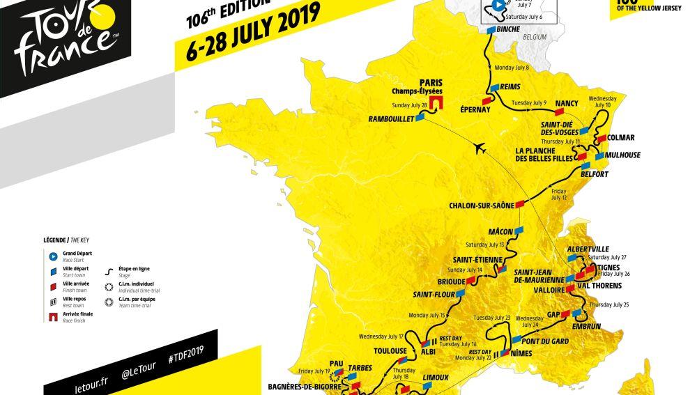 Así será el recorrido del Tour de Francia 2019