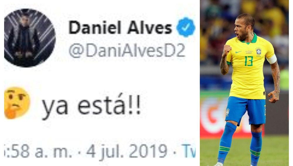 El polémico tuit de Dani Alves que da por vencedora a Brasil