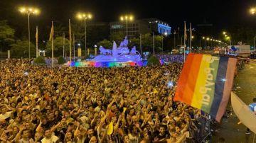 Cibeles durante la manifestación del Orgullo LGTBI