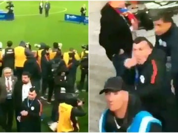 Medel se encara con un aficionado tras el partido ante Argentina