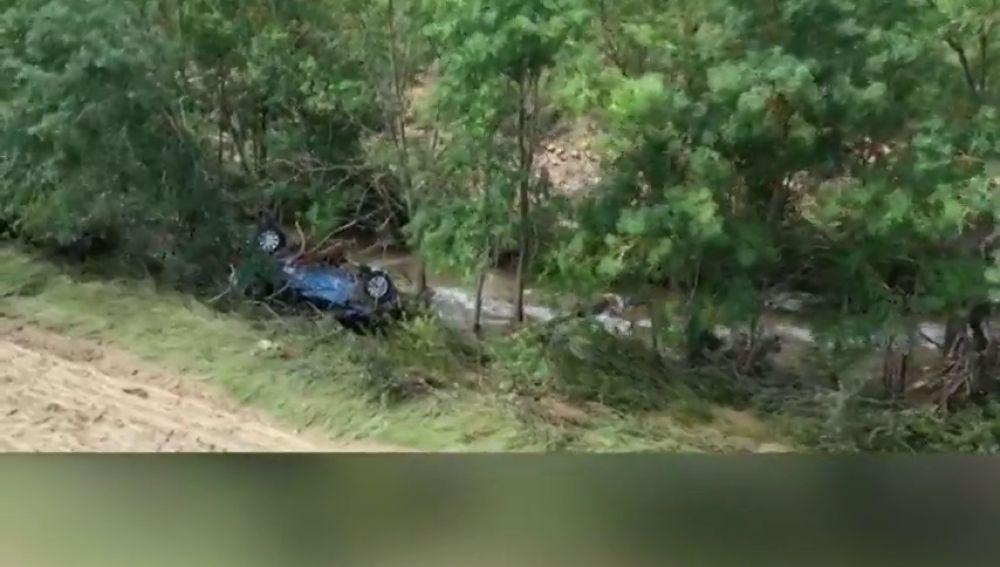 Así encontraron el coche del hombre fallecido por la riada en Tafalla