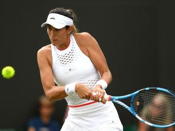 Garbiñe Muguruza, durante un partido en Wimbledon
