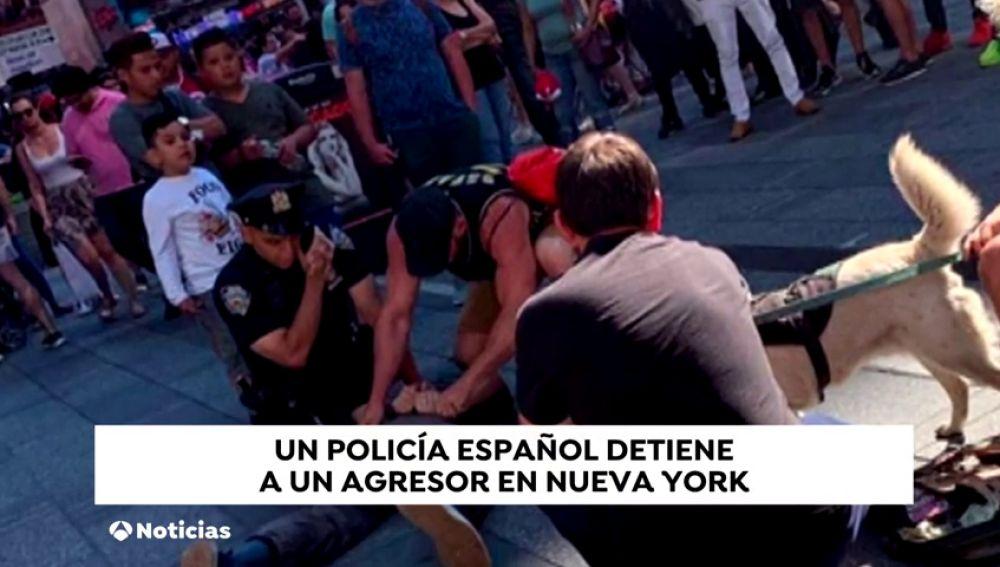 Las fotos del momento en que un policía fuera de servicio salva a otro agente en Times Square
