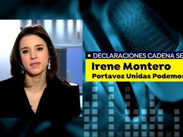 Irene Montero lamenta que no se haya podido llegar ni a negociar sobre la vicepresidencia del Gobierno