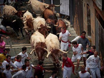 Uno de los encierros de San Fermín, en Pamplona 2019