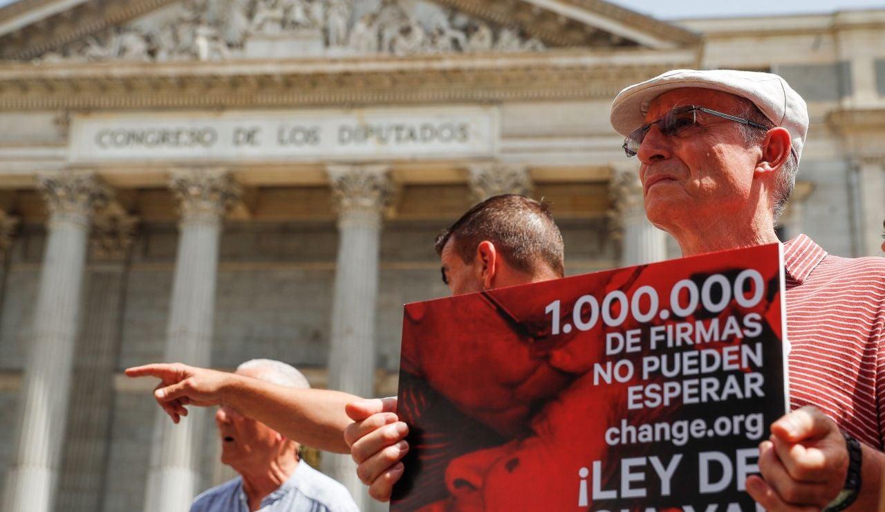 Ángel Hernández frente al Congreso de los Diputados