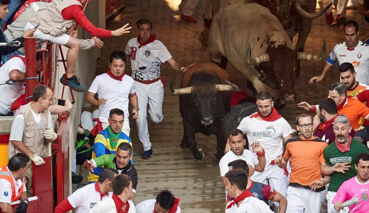 Los toros de la ganadería de Núñez del Cuvillo, durante el sexto encierro de los Sanfermines 2019