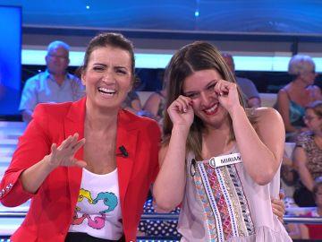 Miriam llora de emoción tras ganar el premio de '¡Ahora caigo!'