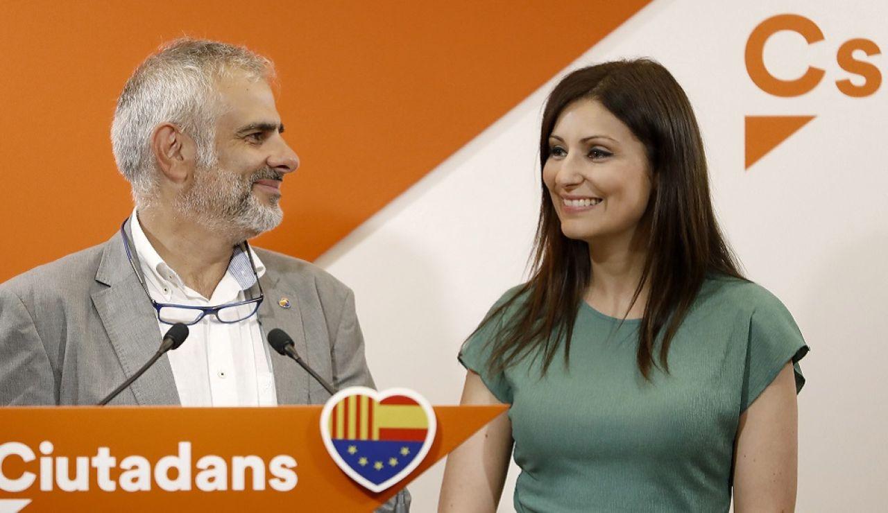 Lorena Roldán, junto al presidente del grupo de Ciudadanos en el Parlament, Carlos Carrizosa