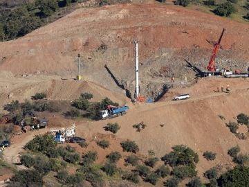 Vista general del lugar donde cayó Julen en la localidad malagueña de Totalán