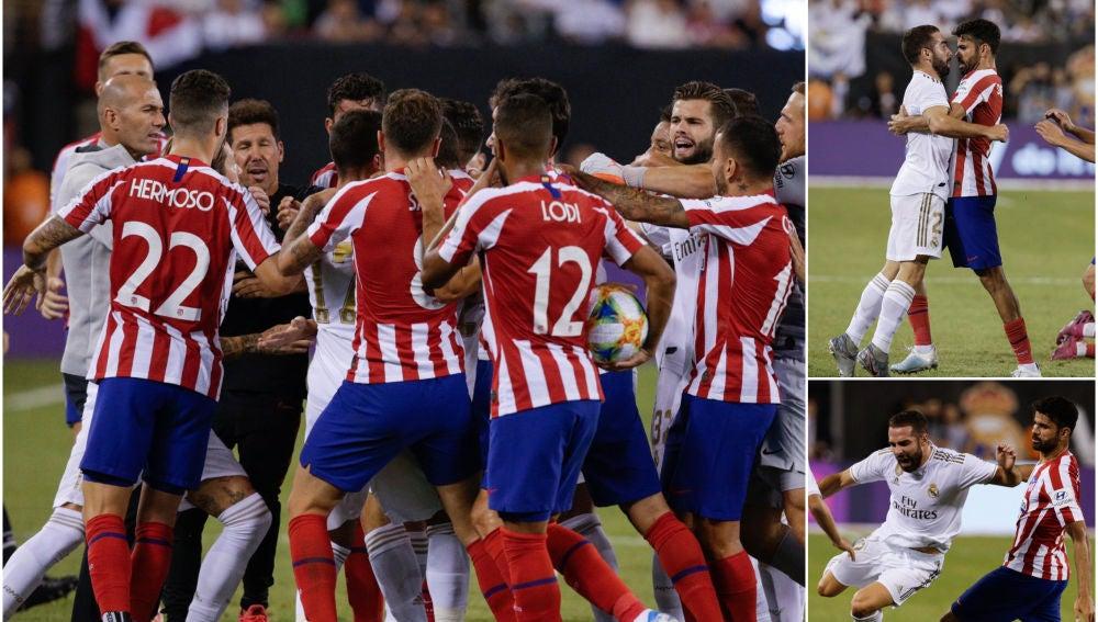 Tangana entre jugadores de Atlético y Real Madrid durante un partido amistoso
