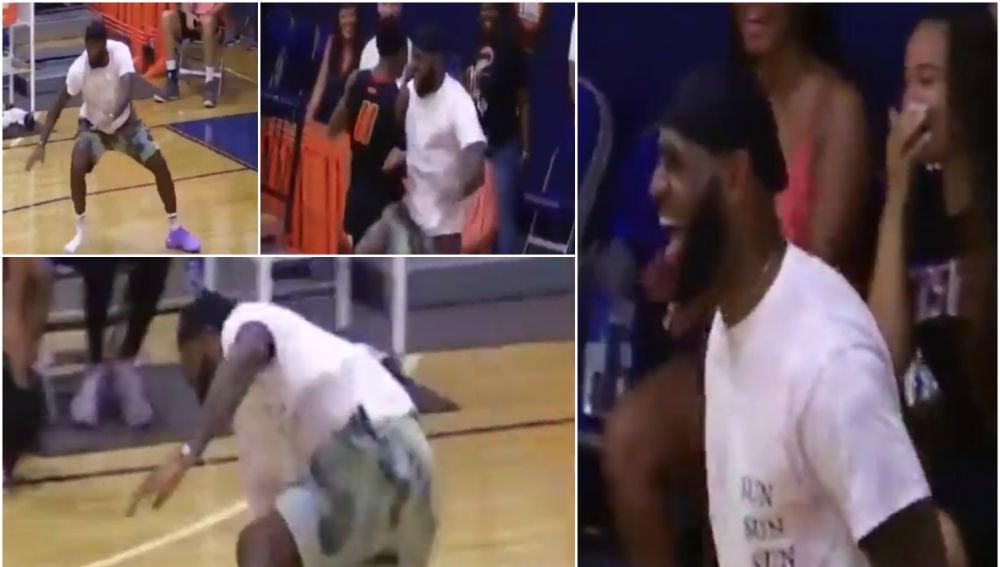 LeBron James celebra una gran jugada de su hijo