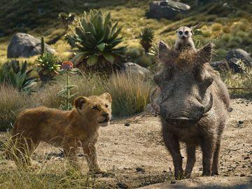 Simba, Timón y Pumba en el remake de 'El Rey León'
