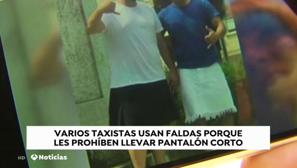 Los taxistas se ponen falda contra la prohibición de llevar pantalón corto