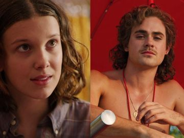 Millie Bobby Brown y Dacre Montgomery en 'Stranger Things'