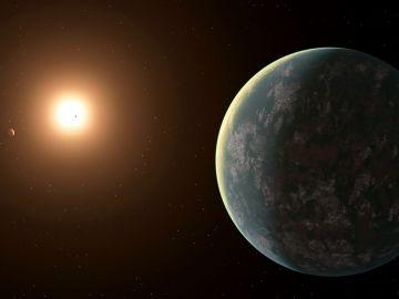 Representación de un sistema de exoplanetas