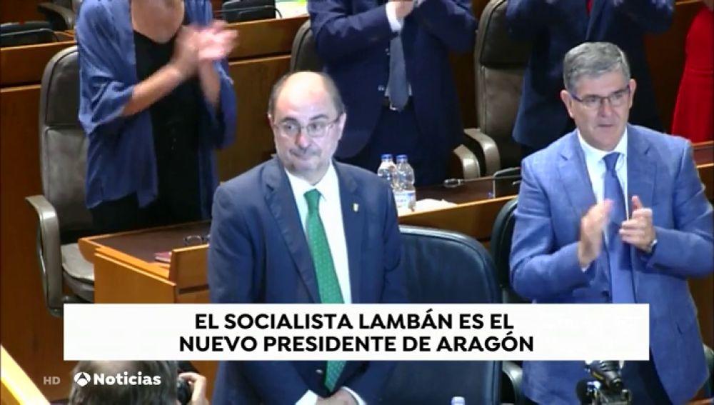 Javier Lambán, reelegido presidente de Aragón con los votos de Podemos, IU, PAR y la Chunta