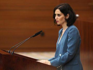 Isabel Díaz Ayuso en su discurso de investidura