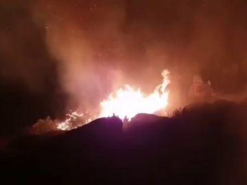 Diez medios aéreos trabajan para extinguir el incendio de Navalacruz, en Ávila