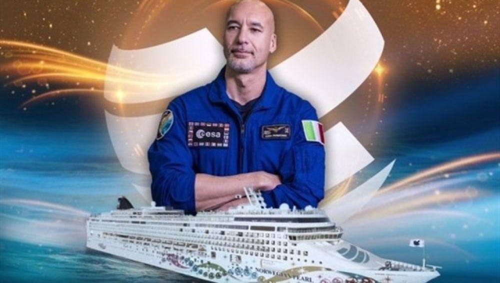 Cartel promocional de la sesión de Luca Parmitano desde el espacio.