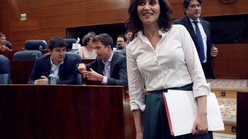 Isabel Díaz Ayuso en la sesión de investidura
